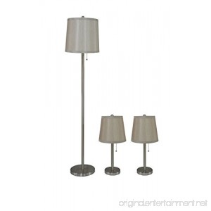 Urbanest Lamon 3-piece Table and Floor Lamp Set in Brushed Nickel with Champagne Silk Lamp Shades - B00VEEJQJW