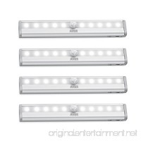 AMIR 10 LED Motion Sensing Closet Lights  DIY Stick-on Anywhere Portable 10-LED Wireless Cabinet Night/Stairs Light Bar with Magnetic Strip  Puck Lights (Battery Operated - 4 Pack) - B0757KHHQ7