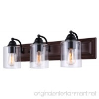 Canarm Balsa 3 Light Vanity Light with Clear Glass and Matte Black /Faux Wood Finish - B01N17T4UV