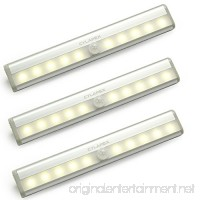 CYLAPEX 3 PCS Motion Sensor Closet Light AAA Battery Operated  Stick-on Anywhere Wireless Motion Detection Under Cabinet Lights  Portable 10 LED Night Light Bar for Stairs Hallway Wardrobe Warm White - B077FXPYRJ
