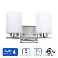 IN HOME 2-Light Vanity/Bathroom Fixture VF44 Series  2 x 60 Watt E26 Medium Socket Bulbs  Brushed Nickel Finish with White Glass Shade  UL listed - B079YZWG2T
