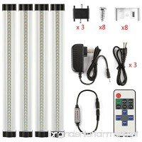 LXG 12in Dimmable LED Under Cabinet Lighting  12W 5000K Daylight 1000LM  Clear Cover Led Strips 11key Remote Control  4 Pack - B01LA7443K