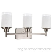 Revel Windsor 22 3-Light Modern Vanity/Bathroom Light Brushed Nickel finish & Frosted Linen Glass Shades - B01ICBEG9Y
