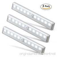 Wonyered Motion Sensor Closet Lights 3-Pack 10 LED Automatic Activated Cabinet Lighting Wireless Battery Powered Night Light Bar with Magnetic Strip Tapes for Wardrobe/ Stairs/ Basement/ Kitchen - B076TZ6HNV