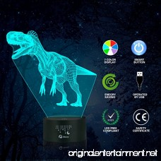 Dinosaur 3D Night Light Table Desk Lamp Elstey 7 Colors Optical Illusion Touch Control Lights with Acrylic Flat & ABS Base & USB Cable for Christmas Gift - B077K1DJLR