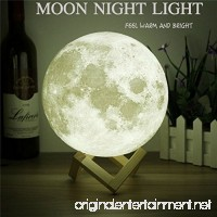 Moon Light - 3d Printing Light - Moon Lamp 3d - Warm and White Touch Control Brightness with USB Charging - Luna Lamp - Moon Decor - Lunar Night Light with Wooden Mount - Moon Gifts 3.9 Inch - B079248YS9