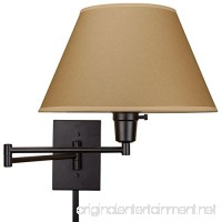 """Cambridge 13"""" Swing Arm Wall Lamp - Plug In/Wall Mount  Opaque Paper Shade  150W 3-Way + Cord Covers  Black Finish - B017V7OUHS"""