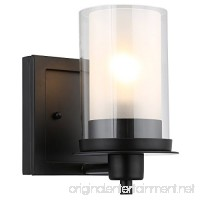 Designers Impressions Juno Matte Black 1 Light Wall Sconce / Bathroom Fixture with Clear and Frosted Glass: 73482 - B0787DW3Z4
