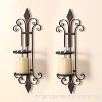 ELEGAN Black Iron Wall Candle Holder Sconce (Set of 2) - B012FGYI7M