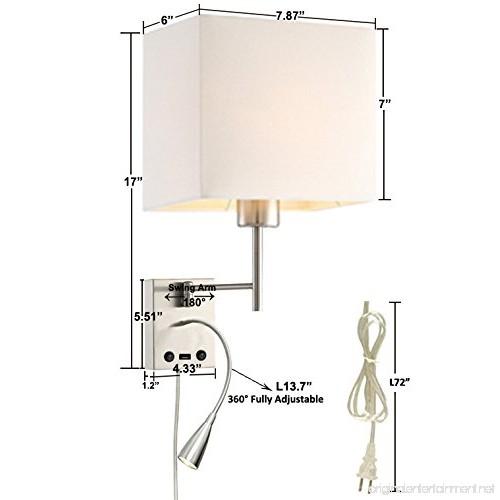 Homefocus Usb Led Swing Arm Bedside Reading Wall Lamp