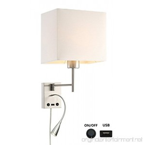 HomeFocus USB LED Swing Arm Bedside Reading Wall Lamp Light LED Reading Swing Arm Wall Lamp Light Wall Sconces Living Room Wall Lamp Corridor Wall Lamp 2 Lights 2 Switches LED 3W 3000K and E26 Holder - B07DCQYV24