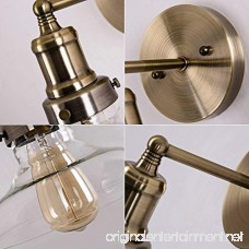 Industrial Clear Glass Wall Sconce Lighting Antique Brass Nickel Fixture Wall Lamp Light for Bathroom Hallway Entry Bar Kitchen Sink by Lanros - B073F19NPD