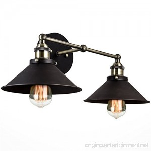 Kira Home Indie 19 Mid-Century Industrial 2-Light Black Wall Sconce Brushed Black Finish - B06XGMWRVN