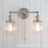 Permo Double Sconce Vintage Industrial Antique 2-lights Wall Sconces with Dual Mini 5.9 Round Clear Glass Globe Shade (Brushed) - B06Y4KYJX3