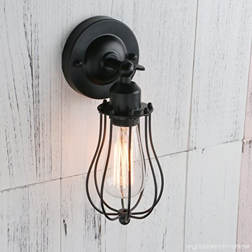 Permo Industrial Vintage Metal Wire Cage Wall Sconce