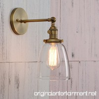 Permo Industrial Vintage Single Sconce With Oval Cone Clear Glass Shade 1-light Wall Sconce Wall Lamp (Antique) - B015NVTUAG