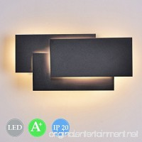 Ralbay 12W LED Wall Light Contemporary Sconces Lamp for Indoor Bedroom Living Room and Outdoor Entrance Decorate (Black 3000K) - B0768WFVJG