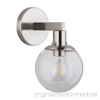 Sferra LED Industrial Wall Sconce – Brushed Nickel w/Clear Glass Globe – Linea di Liara LL-SC225-BN - B06Y2347D1