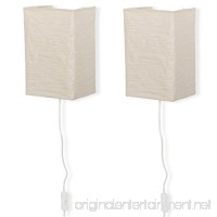 Wallniture Rice Paper Wall Mount Lamp Sconce with Toggle Switch Chandelier Light Bulbs Included Cream Set of 2 - B073R2N1KV