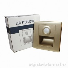 IKSACE LED Stairs Step Night Light Corner Wall Lamp with PIR Sensor for Hallway Stairs Closet Bedroom Warm White 85-265V Golden Body - B07DWWMHX8
