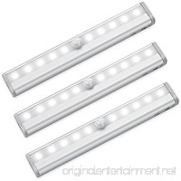 Motion Sensor Closet Lights RUOYIER Portable Wireless 10-LED Stick-on anywhere Cabinet motion sensing light with Magnetic Strip for Wardrobe Stairs Step Night Light Bar(Battery Operated 3-pack) - B077P4K1F3