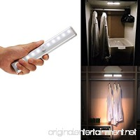 Stick-on Portable Wireless Motion Sensor Under Cabinet Lights 10 LED Motion Activated Night Light Magnetic Tape Lights for Closet  Cabinet (White) - B017U2KXBG