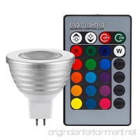 3W Multi-Color MR16 GU5.3 LED Bulbs  12V Dimmable RGB Spotlight Bulb with Remote Controller  Color Changing Reflector  LED Mood Light Bulbs  for General  Decorative  Accent Lighting - Silver - B078MKFBRD