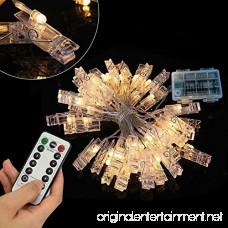 20 LED Photo Clip Remote String Lights KingYue 8.2 Feet 8 Modes Fairy String Lights Home/Party/Christmas Decor Lights for Hanging Photos Pictures Memos and Artwork Warm White (Battery Powered) - B075XTBG7H