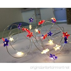 ADAINA 2 Pack Battery Operated Star Shaped Indoor String Lights Silver Wire Flexible Fairy Lighting for July Wedding Garland Dinner Party Home Patriotic Halloween Decoration (2M 20 Leds) - B06XCVQ3WP