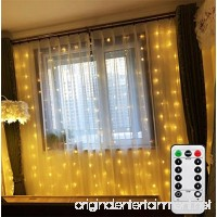 Battery Operated Curtain Window Lights with Remote Timer Bedroom Patio LED Curtain String Light Icicle Waterfall Lights for Outdoor Indoor (Warm White  6.5 X 6.5ft  Dimmable) - B077N7PSC7