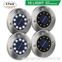 DUUDO Solar Ground Light  Newest 10 LED Garden Pathway Outdoor Waterproof In-Ground Lights  Disk Lights (Cold White  4 PACK) - B07DNYBL8C