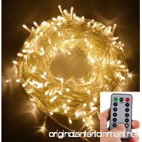 echosari 100 Leds Outdoor LED Fairy String Lights Battery Operated with Remote (Dimmable  Timer  8 Modes) - Warm White - B018RUJXHU