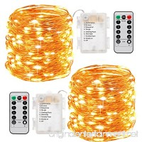 Fairy Lights Sanniu 2 Pack Fairy String Lights Battery Operated with Remote Control 8 Modes 50 LED 16ft Waterproof String Lights Copper Wire Firefly Lights Christmas Decor Christmas Lights Warm White - B07D9G5CFB