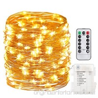 GDEALER 100 Led 33ft Fairy Lights Fairy String Lights Battery Operated Waterproof 8 Modes Remote Control String Lights Copper Wire Firefly lights Christmas Decor Christmas Lights Warm White - B01FU2IODC