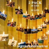 GIGALUMI 2 Pack Photo Clips String Lights  20ft 20 LED Indoor Fairy String Lights for Hanging Photos Pictures Cards and Memos  Ideal gift for Bedroom Decoration (USB Powered  Warm White) - B074T88G9K