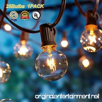 Globe String Lights G40 UL Listed Patio Lights for Indoor Outdoor Commercial Decor 25Ft with 25 Clear Bulbs Outdoor String Lights for Party Wedding Garden Backyard Deck Yard Pergola Gazebo Black - B07B494SVZ