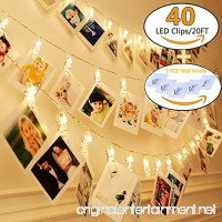 KAZOKU Photo Clips String Lights  [Upgraded] Indoor and Outdoor String Lights with 40 LED Warm White Photo Clips for Dorms Bedroom Decoration(Free Gift -5 PCS Wall Hooks) - B07CMVSQGB