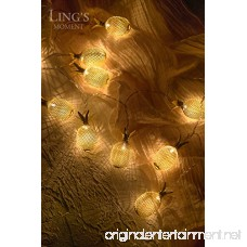 ling's moment 10-Light 5Ft Gold Metal Mesh Pineapple LED lantern String Lights Battery Powered Novelty Fairy Lights For Bedroom Wedding Patio Party Festival Decoration (Warm White - B073Y47G3K