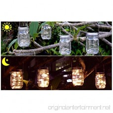 PAPRMA 6 Pack Solar Mason Jar Lights 20 LED Jar Lid Fairy String Lights with 6 Hangers Decorations for Party Garden Patio Path Christmas Warm White(Jar NOT Included) - B07DB395BG