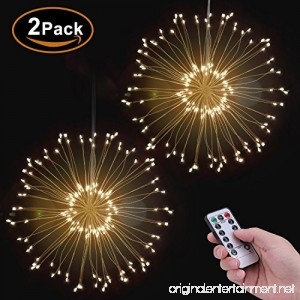 POHO 2 Pack LED Fairy Lights 8 Modes Dimmable String Lights Remote Control with Timer Hanging Starburst Lights Waterproof Starry Lights Decorative Copper Wire Lights for Parties - B07DP3W9W4
