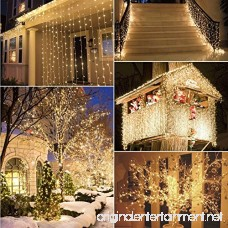 [Remote and Timer] 36ft 100 LED Outdoor Battery Fairy Lights (8 Modes Dimmable IP65 Waterproof Warm White) - B014STP6I4