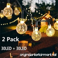 Solar Globe String Lights 30 LED 19.8ft Outdoor Crystal Ball Christmas Decoration Light Waterproof Solar Patio Lights Decorative for Xmas Tree Garden Home Lawn Wedding Party Holiday (2PACK-Warm White) - B07BVLB9RY