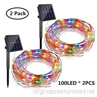Solar Powered String Lights  2 Pack 100 LED Solar Fairy Lights 33 ft 8 Modes Copper Wire Lights Waterproof Outdoor String Lights for Garden Patio Gate Yard Party Wedding Indoor Bedroom (Multicolor) - B07DT26HMV