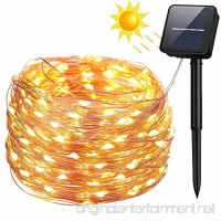 Solar String Lights  100 LED Solar Fairy Lights 33 feet 8 Modes Copper Wire Lights Waterproof Outdoor String Lights for Garden Patio Gate Yard Party Wedding Indoor Bedroom Warm White - LiyanQ - B07BH336K7