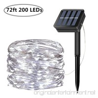 Solar String Lights  200 LED Solar Fairy Lights 72 feet 8 Modes Silver Wire Lights Waterproof Outdoor String Lights for Garden Patio Gate Yard Party Wedding Indoor Bedroom - Cool White - B07BH2W5FG