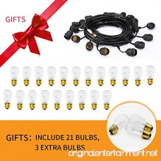 xtf2015 Outdoor Weatherproof Commercial String Lights - 48ft Heavy Duty Cord with 18 Sockets 21 Bulbs (3 Spare) Vintage Edison Bulbs Create Romantic Ambience for Patio Garden Porch Backyard Deck - B076VFGWYD