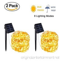 ZG&HY Solar String Lights  2 Pack 100 LED 8 Modes Copper Wire Fairy Lights Waterproof Outdoor String Lights Indoor/Outdoor  Gardens  Patio  Wedding  Bedroom  Christmas Party Decoration¨Warm White - B07F7CJTGS