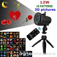12W Led Projector Light with Remote  16 Pattern Slides of 3D Pictures for Valentines Lovers Wedding Birthday Party Holiday Moon Stars Snowflakes  Indoor and Outdoor Use - B075F5K7MH