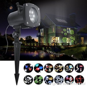 ANTSIR Rotating Landscape Projection LED Light 16PCS Switchable Lens Snowflake Spotlight Projector (16) - B01M9AY7SV