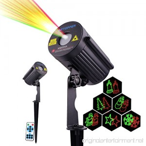 Betopper Garden Laser Waterproof Outdoor Lights Projector with RF Remote Control - Red and Green Color Moving Laser Shower (Stars Snowflake Santa Bells Tree Snowman) - B0769GC5K5